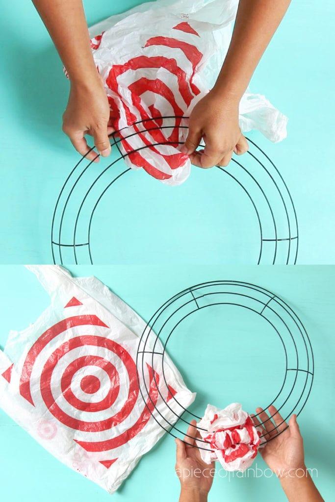 make a Christmas candy cane wreath