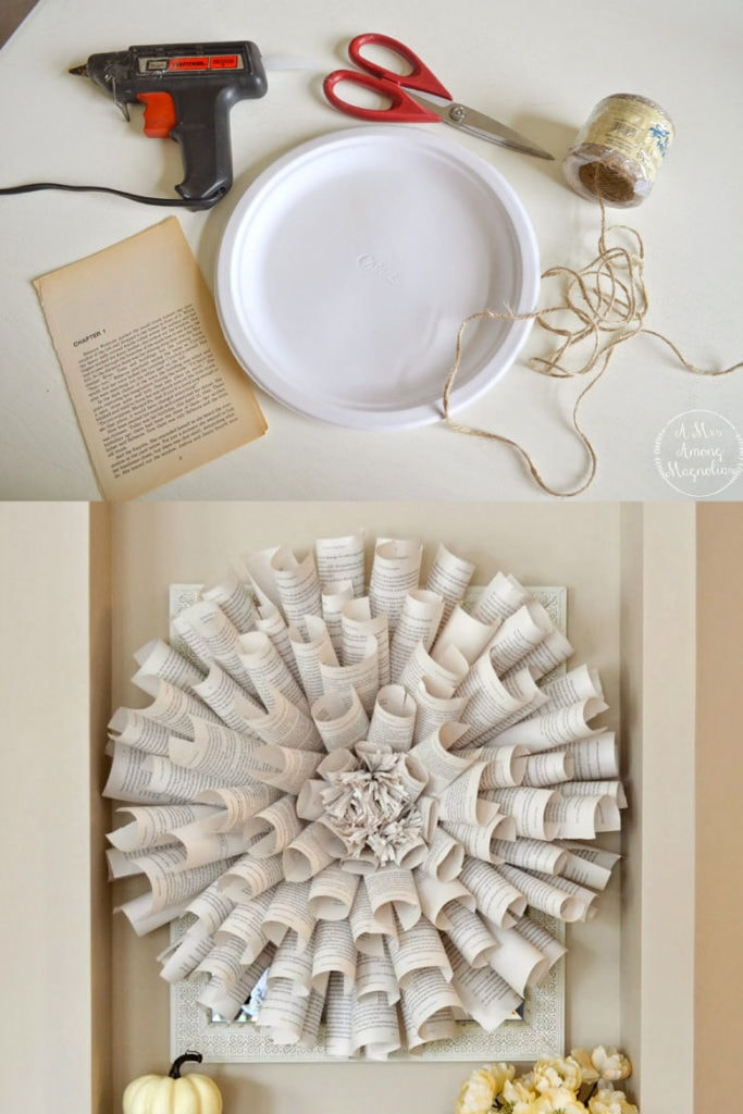 DIY wreath made from old book pages and a paper plate