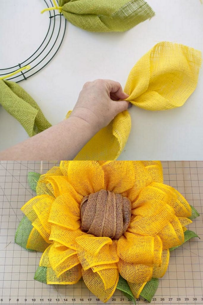 How to make wreaths with mesh or ribbons , here a sunflower wreath