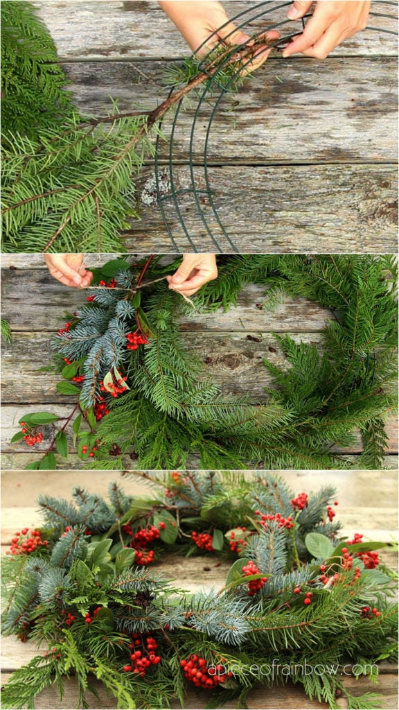 How to make a fresh Christmas wreath with a wire frame