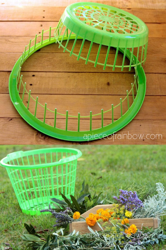 Turn a dollar store laundry basket into a wreath making jig