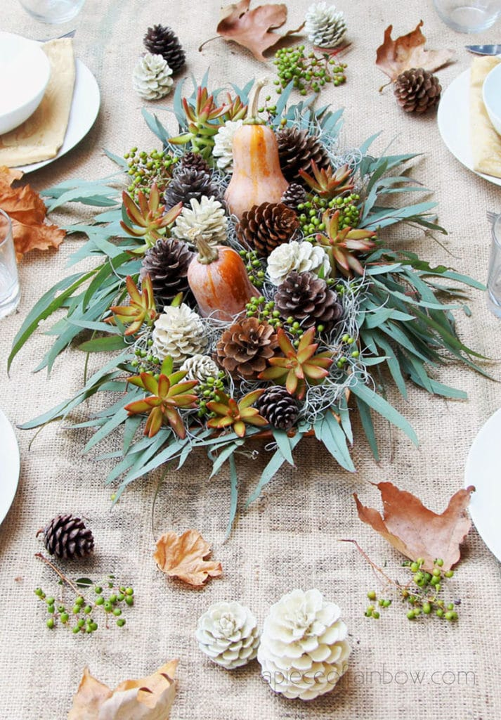 Thanksgiving table decorations with Pine cones