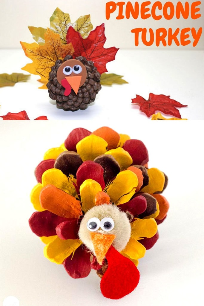 Fall pine cone crafts for kids: DIY Pinecone turkey