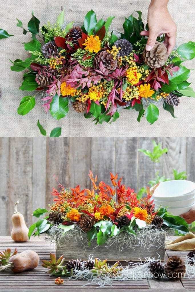colorful Fall pine cone table decorations