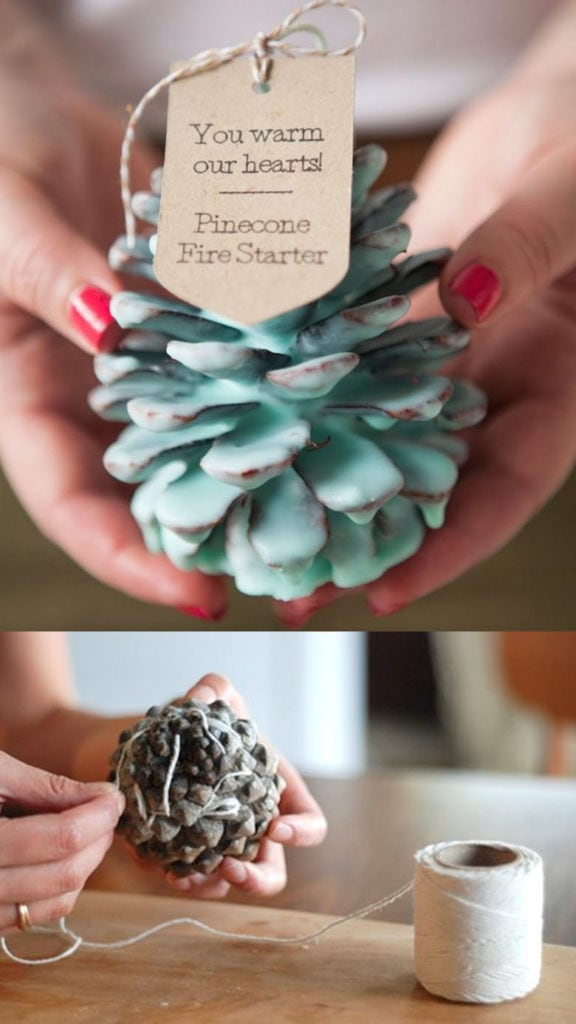 Make pine cone fire starters: great DIY gift idea