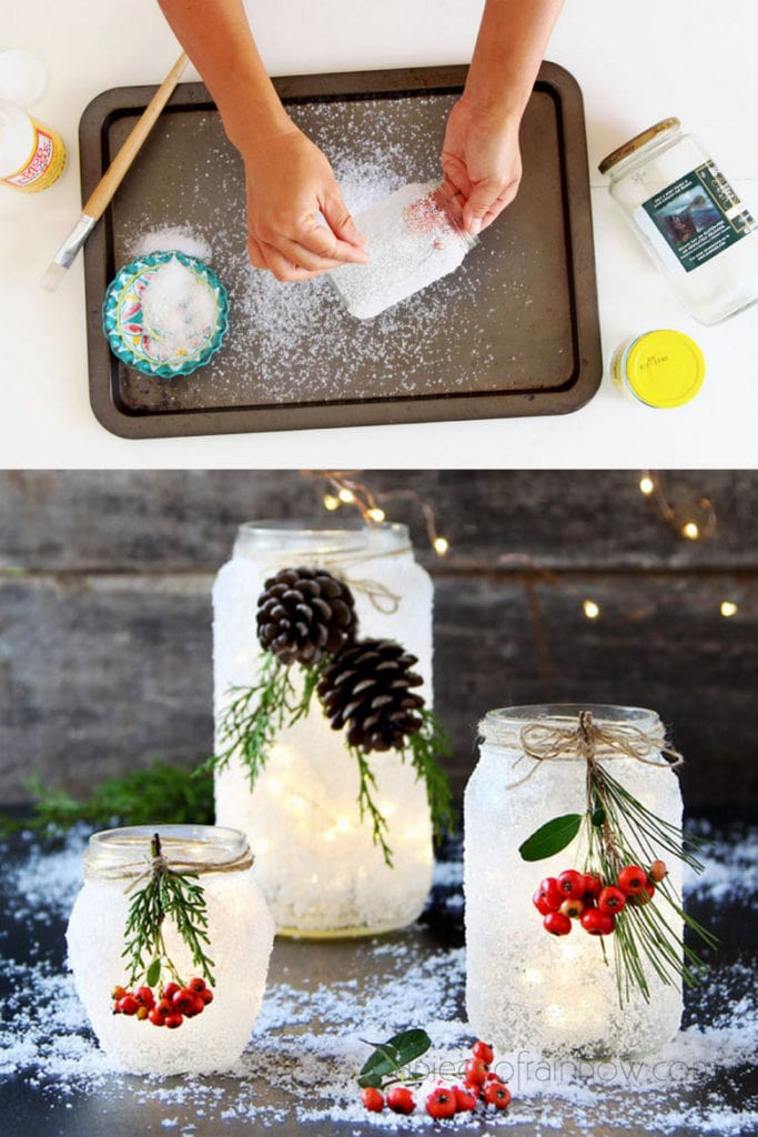 frosted Pine cone and mason jar crafts
