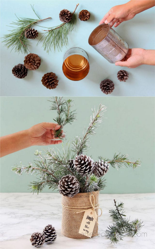 Snowy tree pine cone table decorations for winter and Christmas
