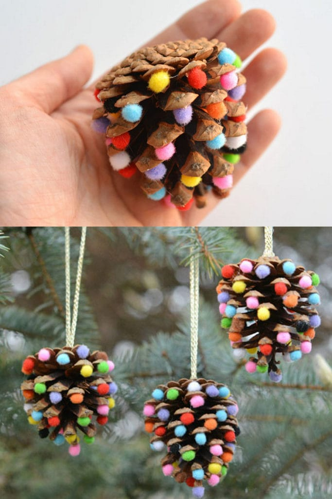DIY pine cone Christmas ornaments
