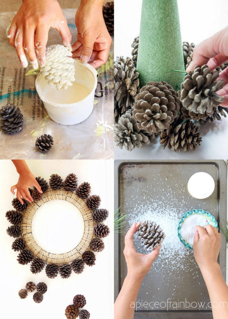 ideas to make DIY pine cone crafts & decorations