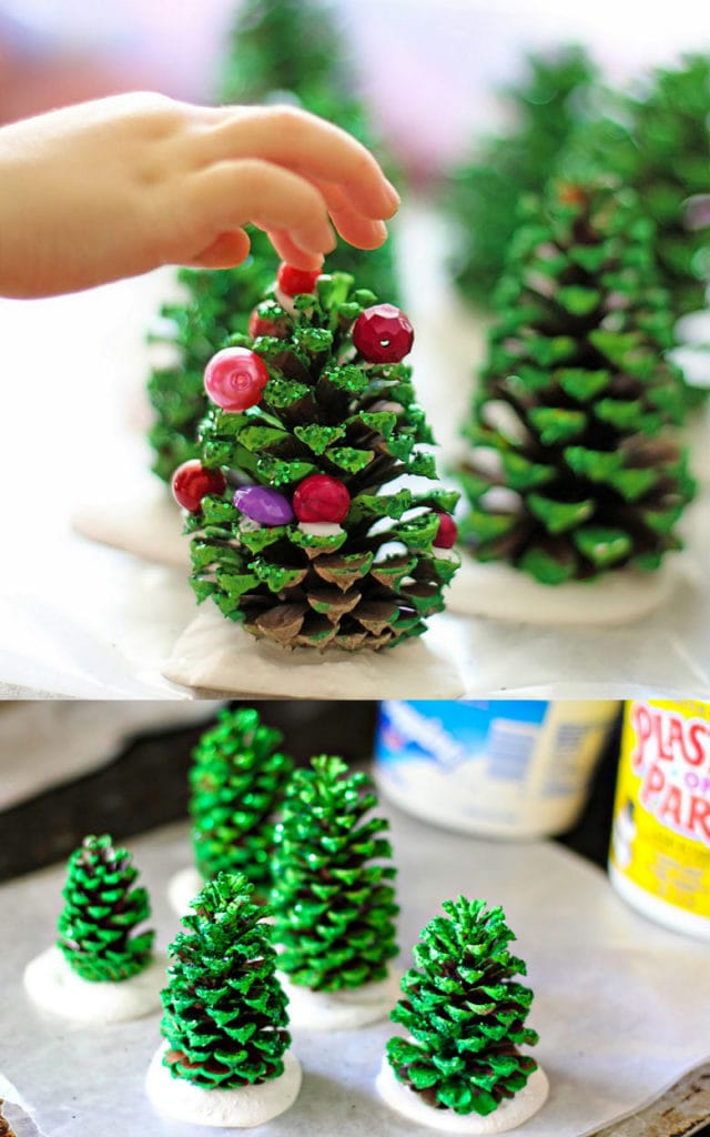 DIY pine cone Christmas trees : easy crafts for kids and family