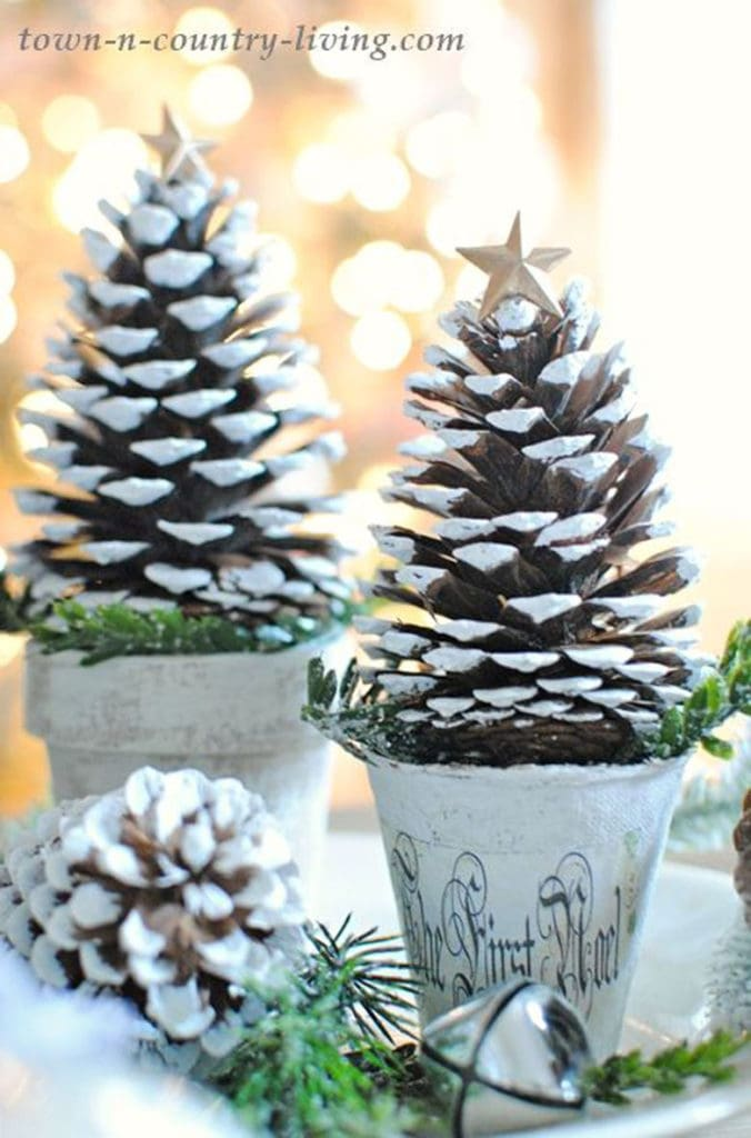 farmhouse  snowy pine cone Christmas trees