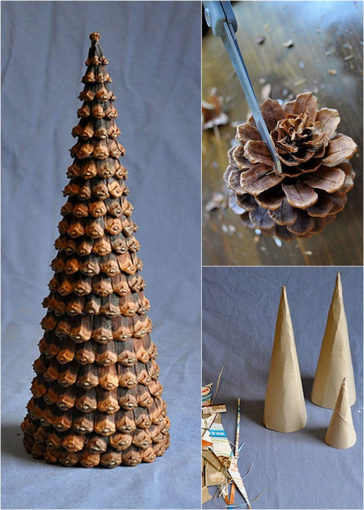DIY pine cone Christmas tree idea using pinecone scales