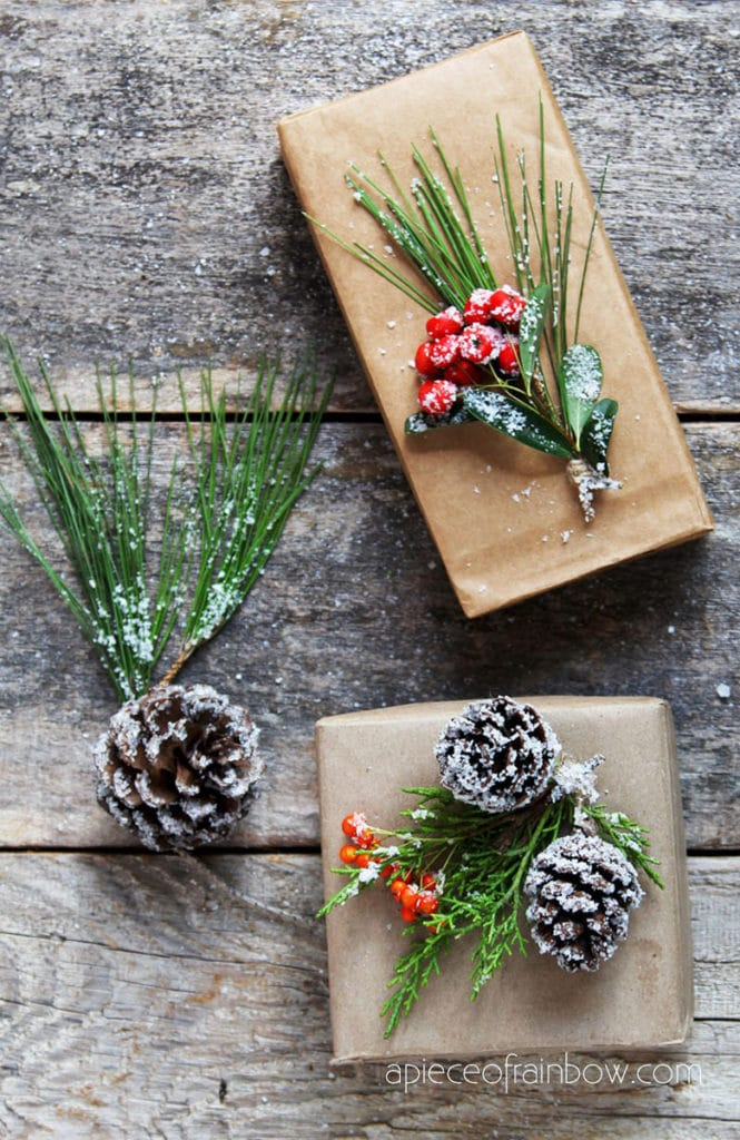 Easy and free Christmas gift wrapping with pine cones