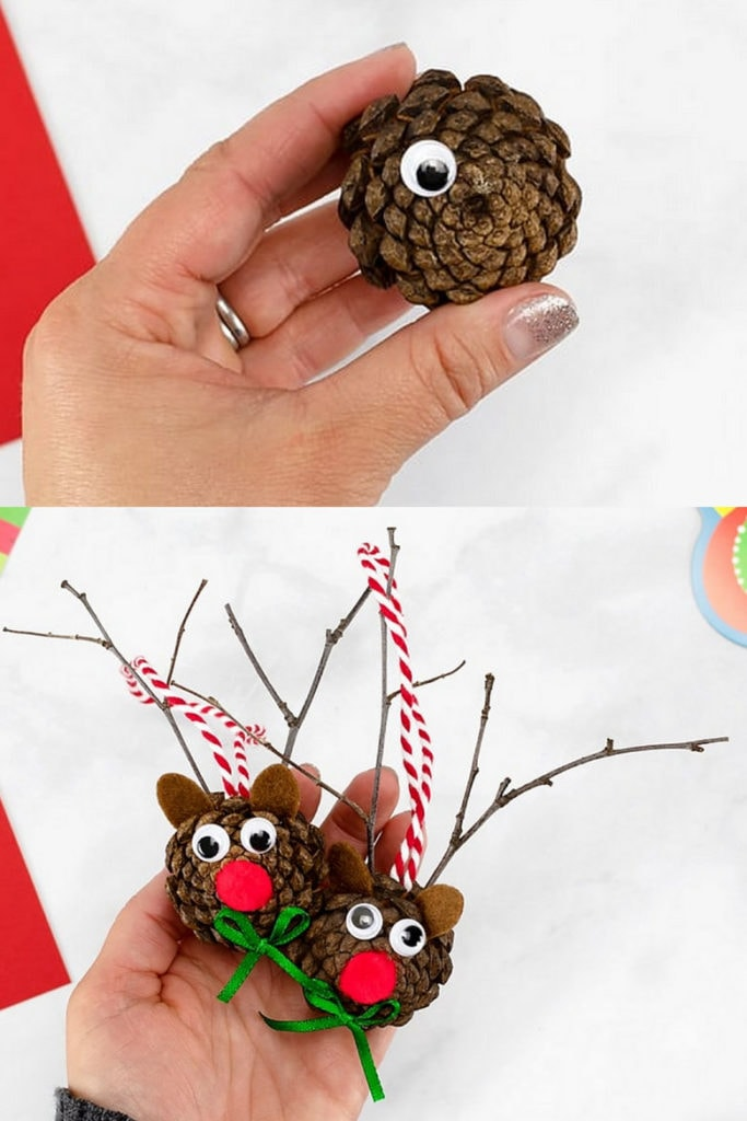 DIY pine cone reindeer: fun Christmas pine cone crafts for kids