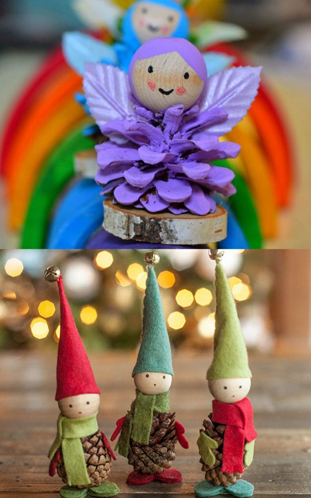 Make pine cone elf and angel Christmas decorations
