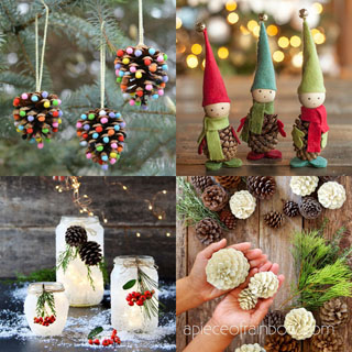 Beautiful DIY pine cone crafts for kids & adults! Best ideas to make free pinecone decorations & easy gifts from spring to fall & Christmas!