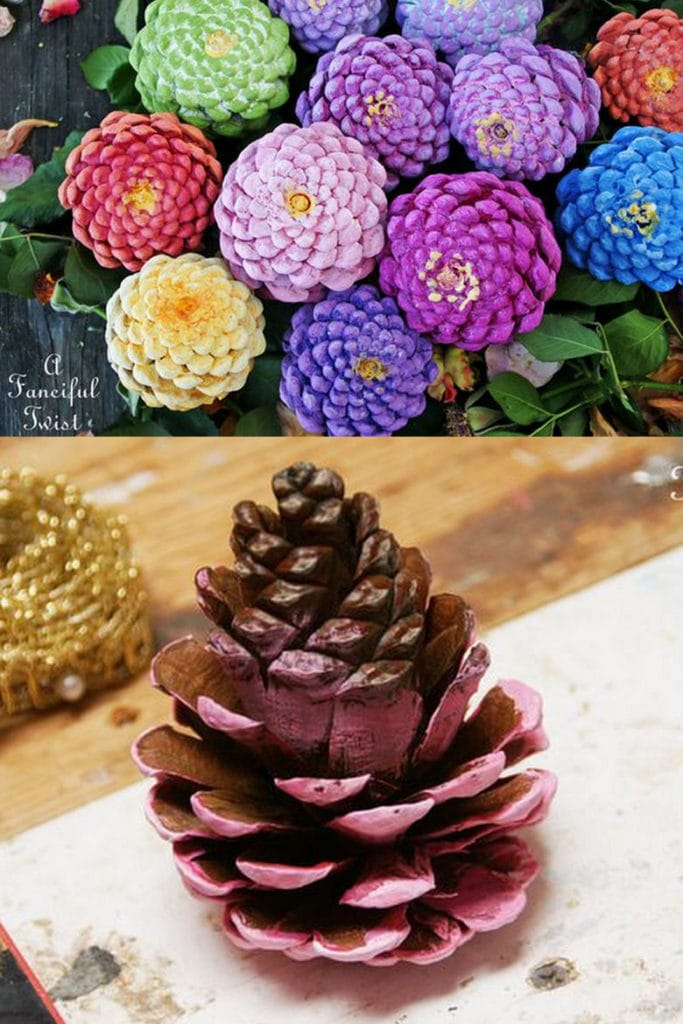Pine cone zinnia flowers: free pine cone crafts for kids and adults
