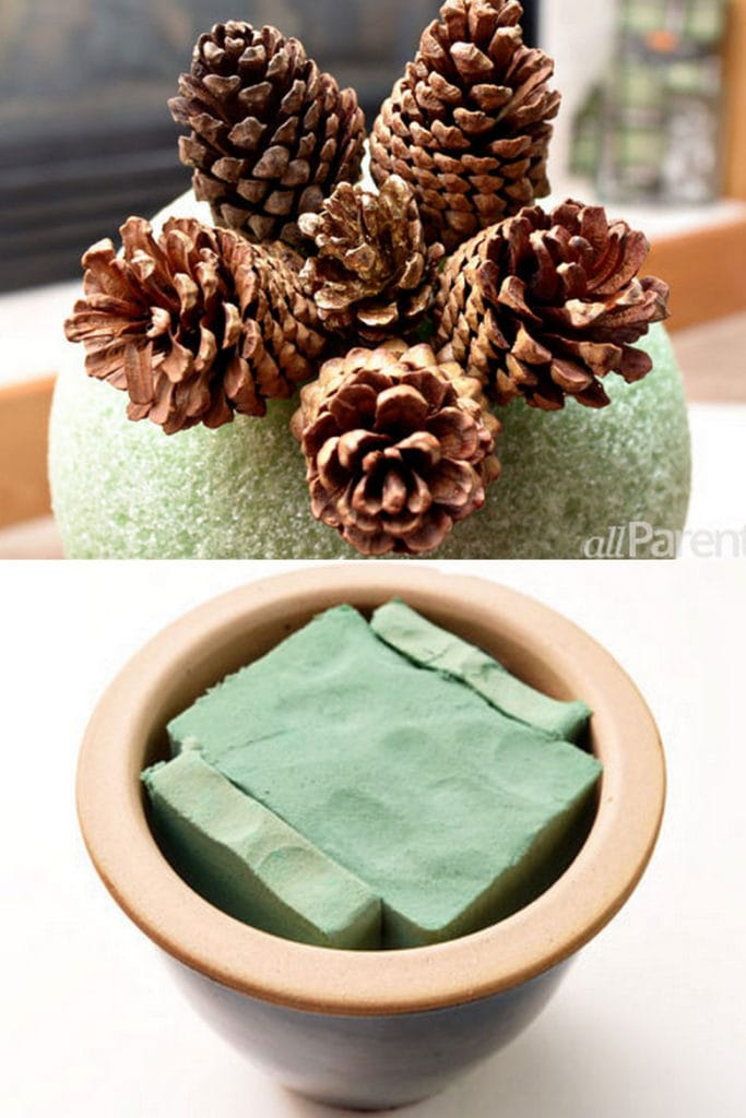 DIY pine cone topiary tree