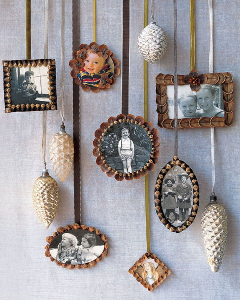 DIY pine cone photo frames: beautiful DIY ornaments & gift