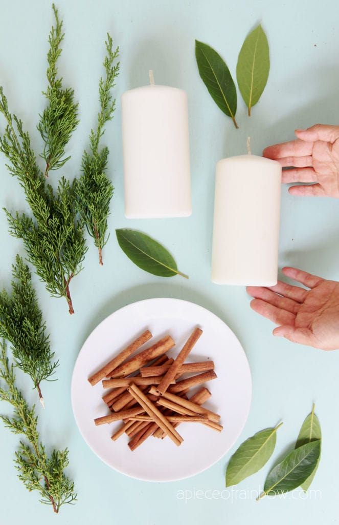 gather natural materials to decorate your Christmas candles