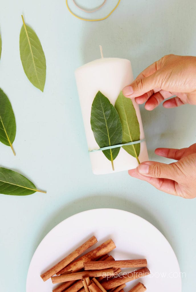 make farmhouse candle decorations and gifts with bay leaves and cinnamon sticks