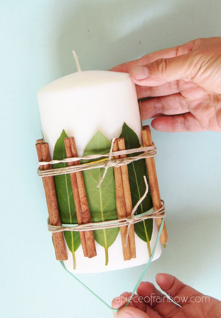 how to decorate candles with cinnamon sticks