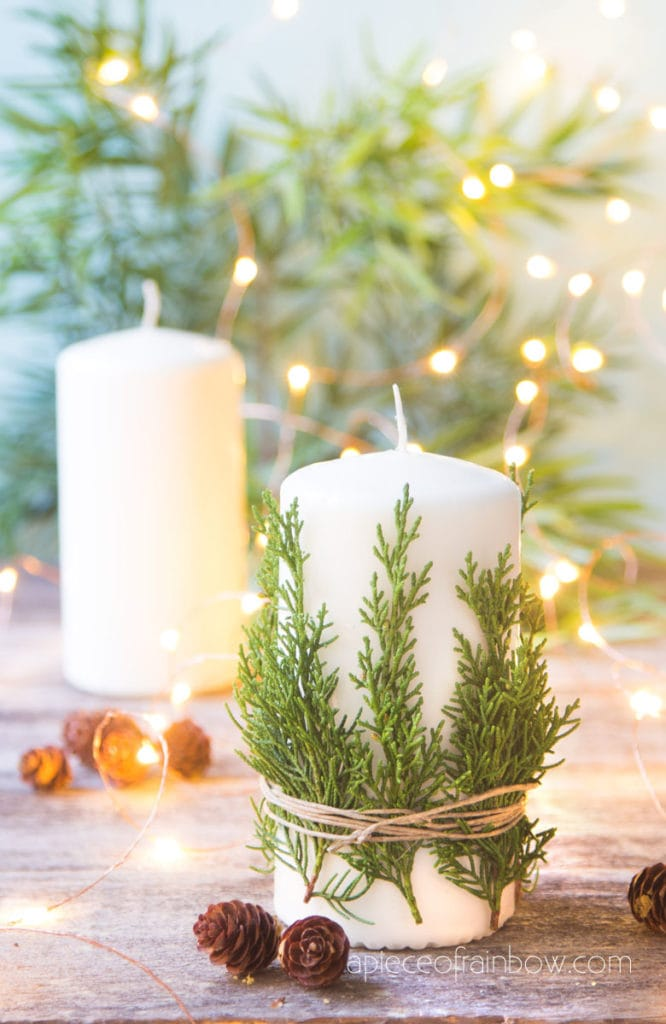 beautiful DIY cedar candle for Christmas decorations