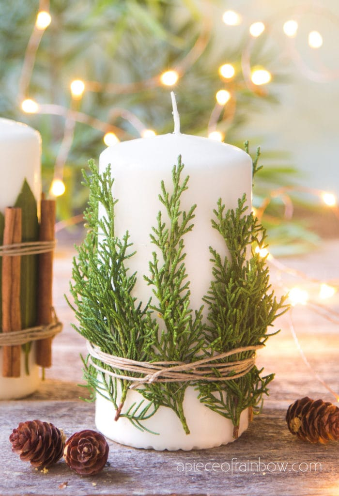 farmhouse Christmas candles & decorations with aromatic cedar,