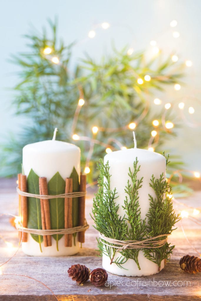 DIY Christmas candles & decorations with aromatic cedar, bay leaves, cinnamon sticks, etc.