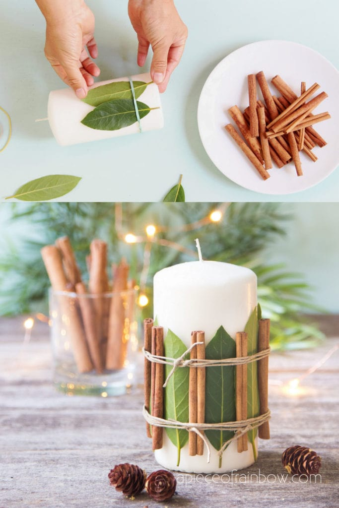 DIY beautiful Christmas candles & decorations with aromatic cedar, bay leaves, cinnamon sticks, etc. Easy farmhouse décor, crafts, and great gift ideas!