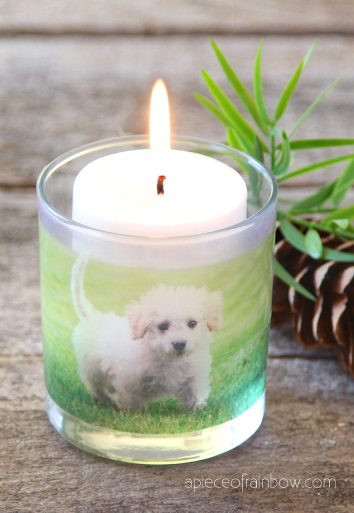 DIY photo candles with puppy, great for Christmas decorations, weddings, home decor, easy crafts & personalized gifts