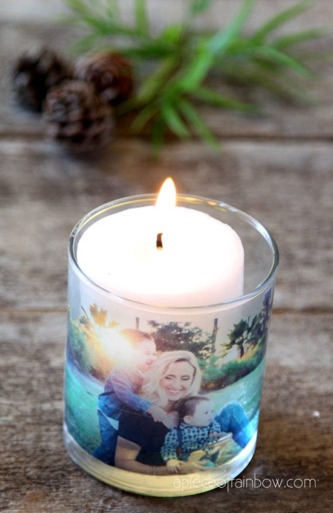 photo candle with packing tape clear stickers