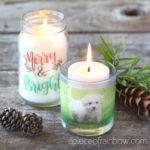 How to transfer images to packing tape & make clear stickers & DIY photo candles for Christmas decorations, weddings, home decor, easy crafts & personalized gifts!