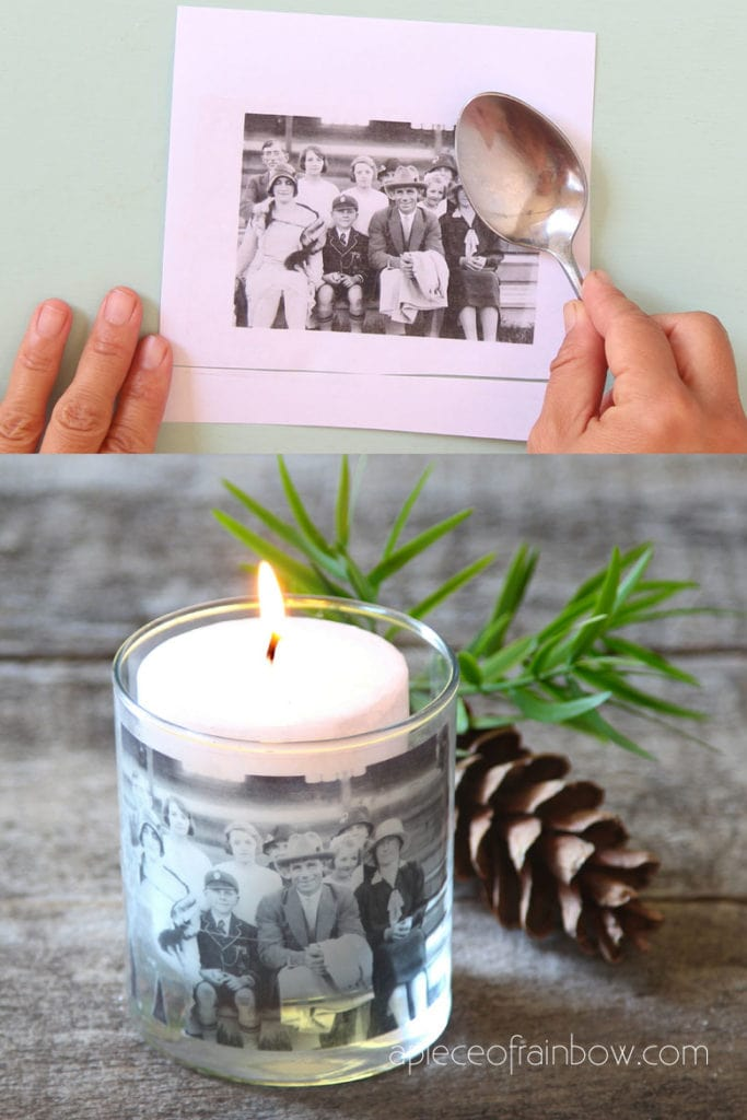 vintage photo candle with DIY packing tape clear sticker