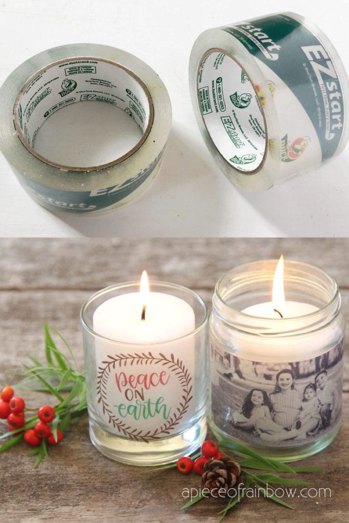 DIY personalized candle holders with packing tape clear stickers