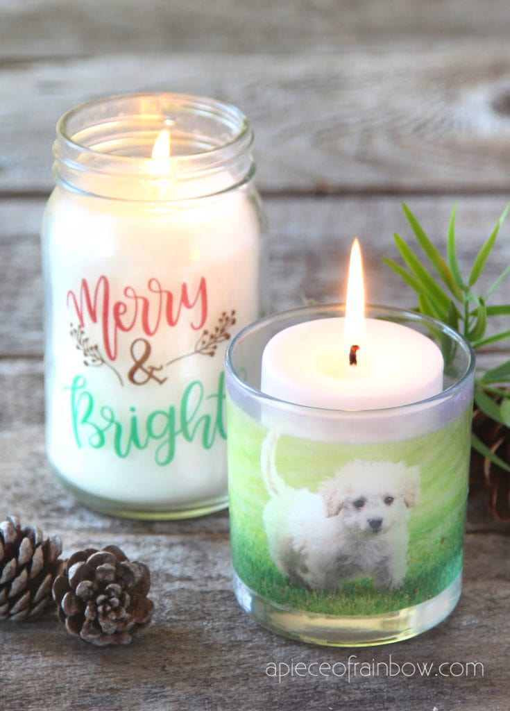 transfer images to packing tape & make clear stickers & DIY photo candles for Christmas decorations