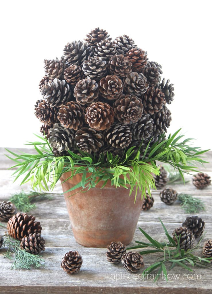farmhouse table decor pine cone topiary DIY with recycled paper