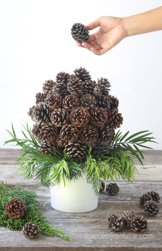 modern farmhouse pine cone crafts, and ornaments topiary for Thanksgiving, Christmas and year-round!