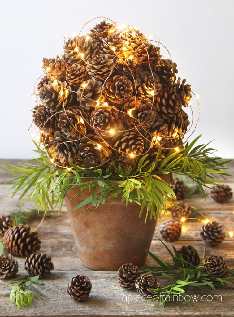 lighted tabletop pine cone decorations for Christmas and Thanksgiving