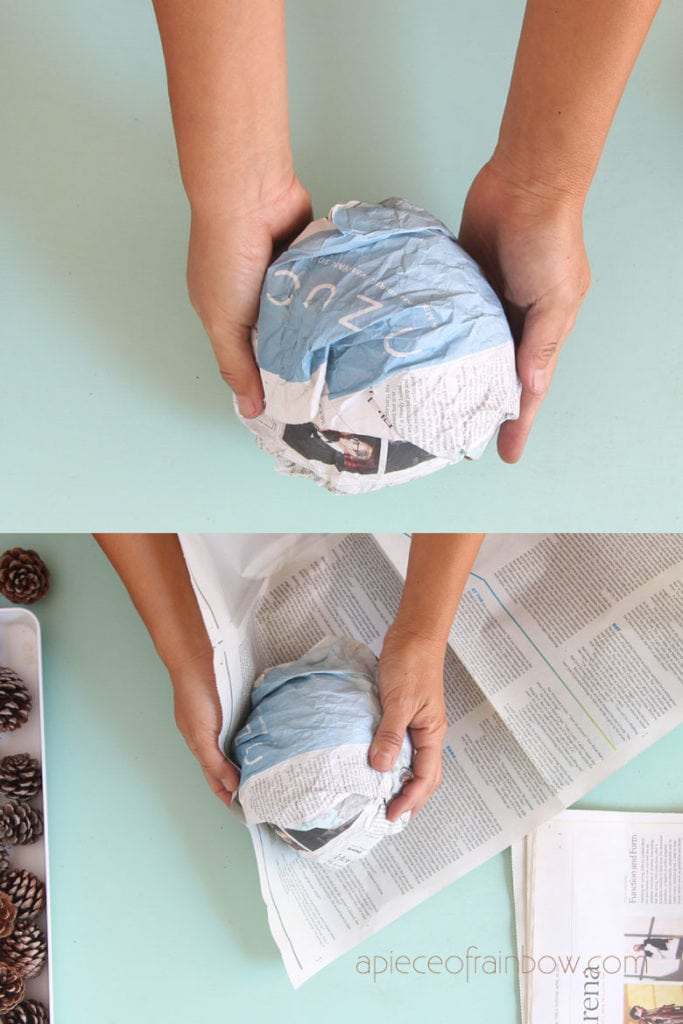 wrap newspaper into a sphere