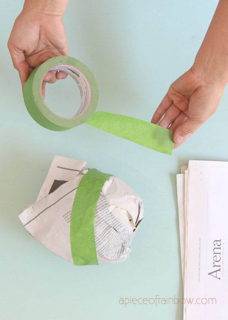 Tape around the paper ball