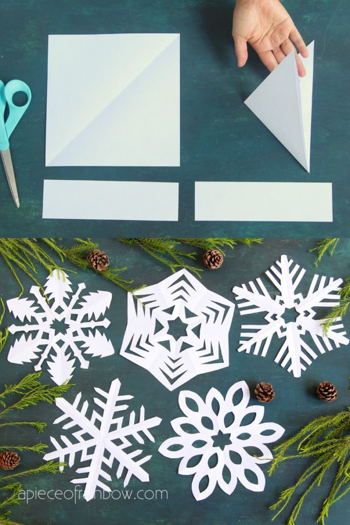 how to make 6 pointed paper snow flakes with step by step tutorial and video