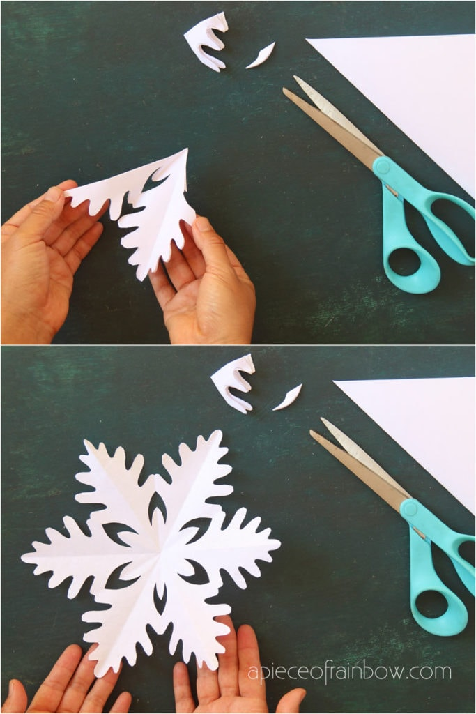 easy paper crafts for kids & family: how to make a paper snowflake with scissors and paper for winter and Christmas decorations!