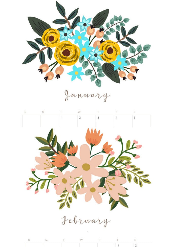 boho flowers bouquet painting Free printable 2021 calendar & monthly planner  templates