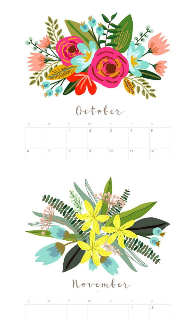 beautiful flowers painting 2021 monthly calendar & planner free download, rifle paper style