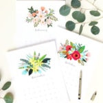 Free printable 2021 monthly calendar & planner with beautiful flowers art