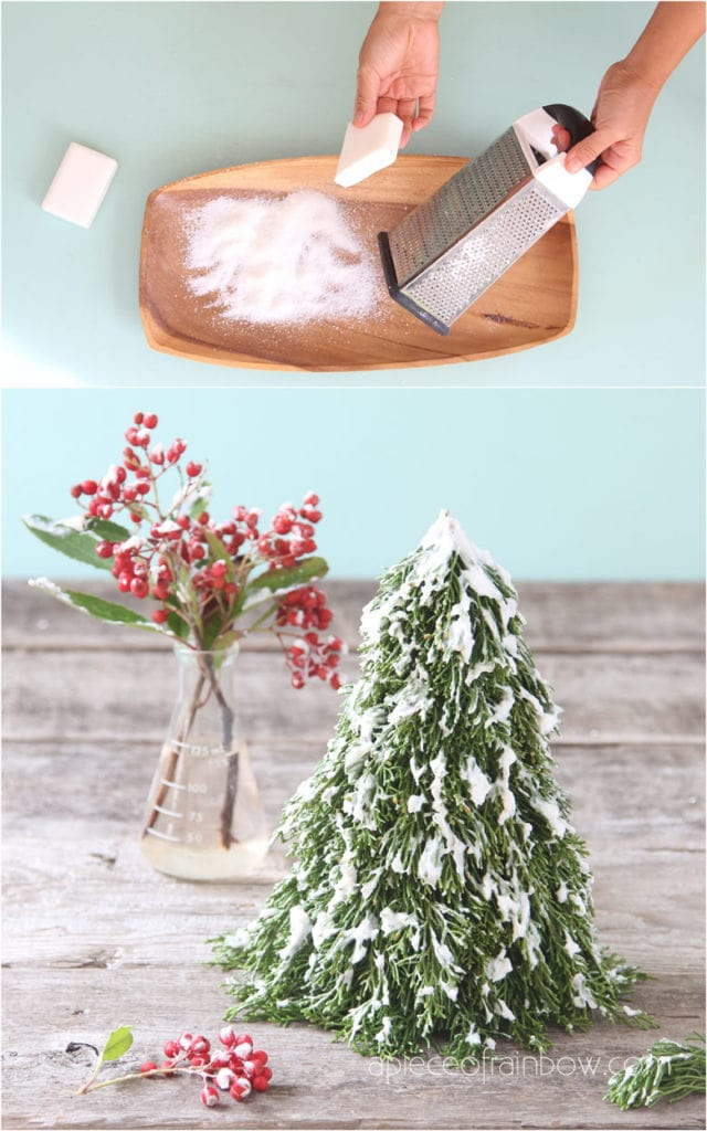 Best $1 DIY snow flocking to make beautiful flocked Christmas trees, branches, & farmhouse decorations. Easy winter crafts for kids and family!