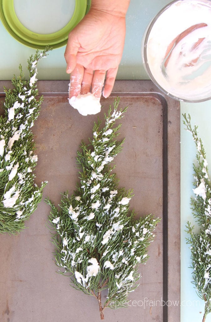 DIY snow flocking to make beautiful flocked branches & farmhouse decorations.