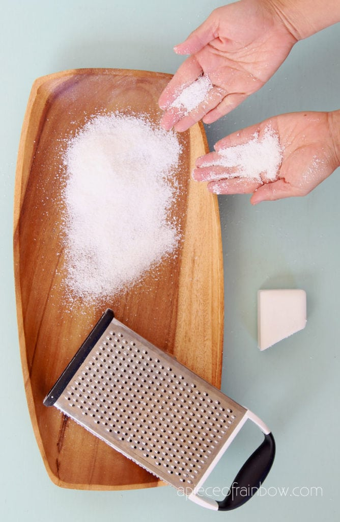 make DIY fake snow powder from soap flakes
