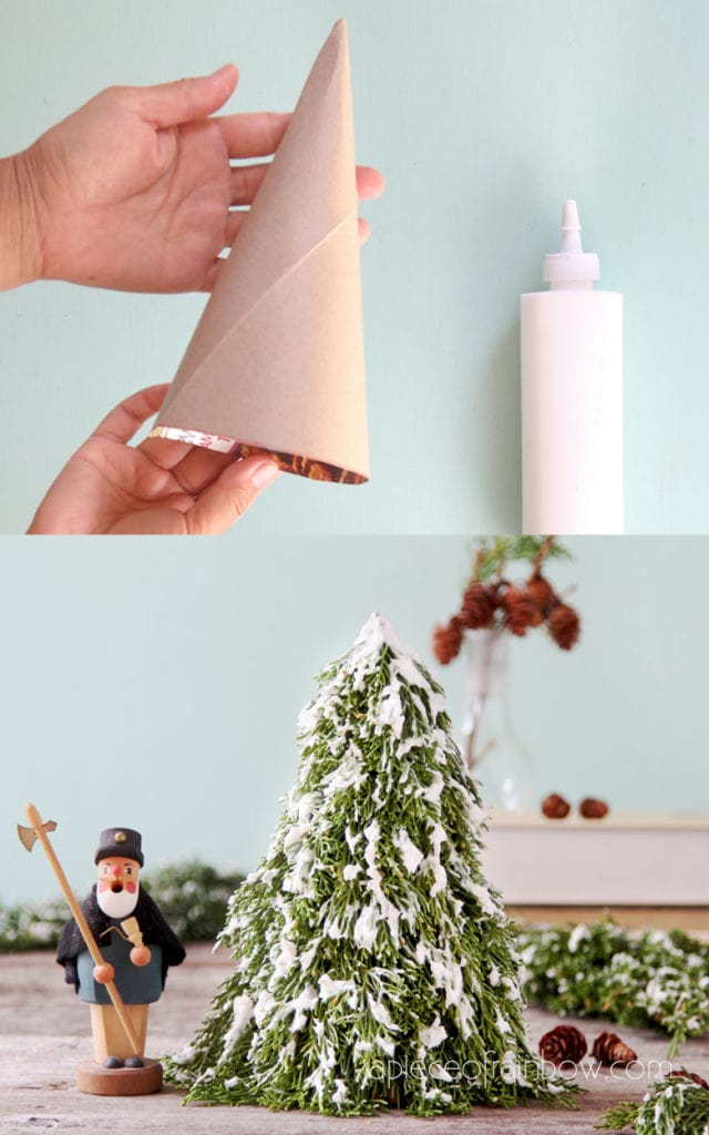 Diy Tabletop Snow Flocked Christmas Tree 1 In 10 Minutes A Piece Of Rainbow